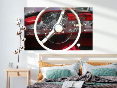 vintage car steeling wheel and dashboard