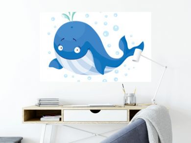 Cute whales isolated. T-Shirt design for children.
