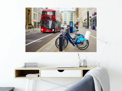 Row of bicycles for rent in London, UK