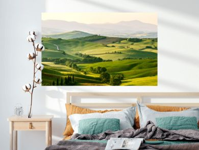 Beautiful and miraculous colors of green spring panorama landsca