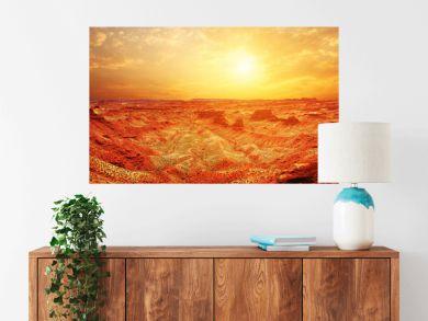sunrise, sunset skyline and landscape of red sandstone