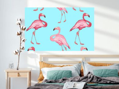 Flamingo pattern beautiful bird flamingos on a blue background