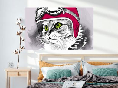 Image cat portrait in retro motorcycle helmet. Vector illustration.