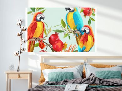 Tropical Graphic Design. Parrot Birds, Pomegranates and Tropical Flowers