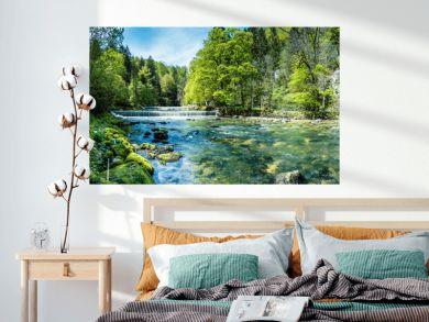 Areuse, Fluss im Neuenburger Jura, Schweiz, Panorama
