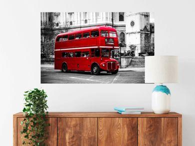 London's iconic double decker bus.