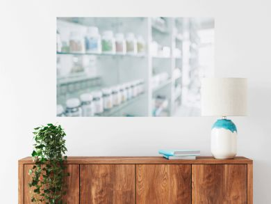 Pharmacy blurred light tone with store drugs shelves interior background, Concept of pharmacist and chemist.
