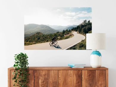 Cyclist on the mountain road