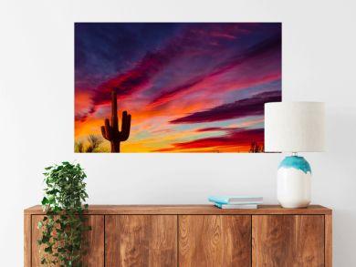 Arizona desert landscape with Siguaro Cactus in silohouette