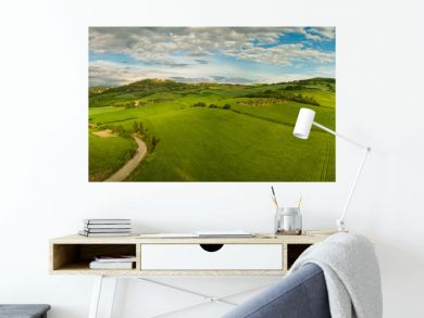 Beautiful panorama landscape of waves hills in rural nature, Tuscany farmland, Italy, Europe