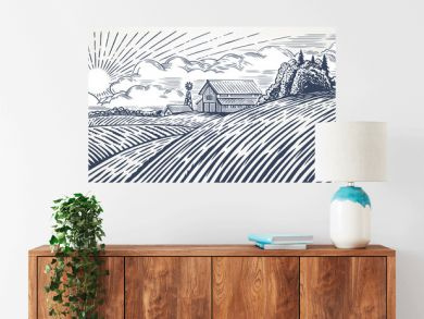 Rural landscape with a farm in engraving style. Hand drawn and converted to vector Illustration