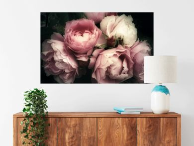 Beautiful bouquet of pink roses, flowers on a dark background, soft and romantic vintage filter, looking like an old painting