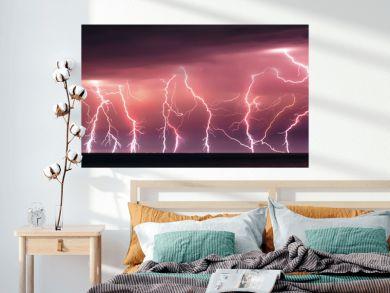 Nature lightning bolt at night thunder storm