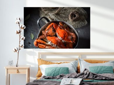 Ingredients for tasty crab with allspice and bay leaf