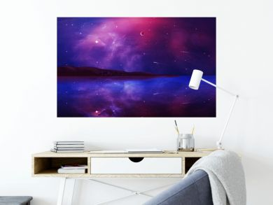 Sci-fi landscape digital painting with nebula, planet and lake in violet color. Elements furnished by NASA. 3D rendering