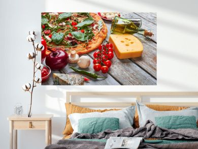 Decoration from pizza and ingredients.