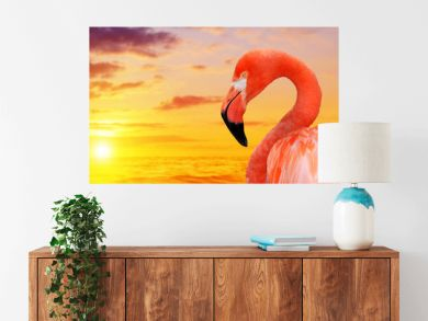 Portrait of a flamingo at sunset.