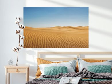 Dunes at empty desert, panoramic nature background with copy space