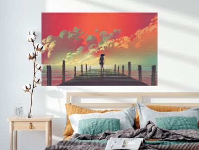 beautiful scenery of the woman standing alone on a wooden pier looking at colorful clouds in the sky, digital art style, illustration painting