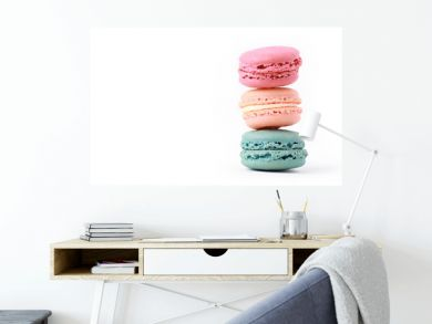 Brightly Colored Stacked Up French Macarons on White