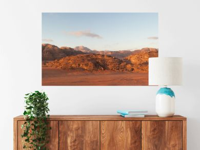 panoramic view of wadi rum desert at sunrise