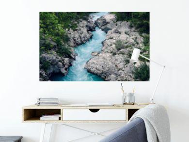 Beautiful blue apline river Soca, popular outdoor destination, Soca Valley, Slovenia, Europe