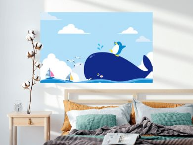 Summer sea illustration whale and penguin
