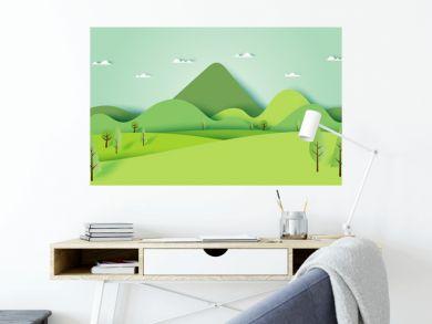 Green nature forest landscape scenery banner background paper art style.Vector illustration.