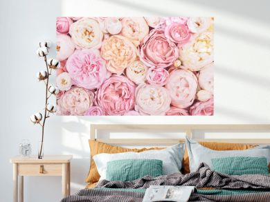 Summer blossoming delicate rose on blooming flowers festive background, pastel and soft bouquet floral card