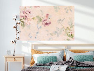Banner - Vintage paper with roses - web header template - website simple design