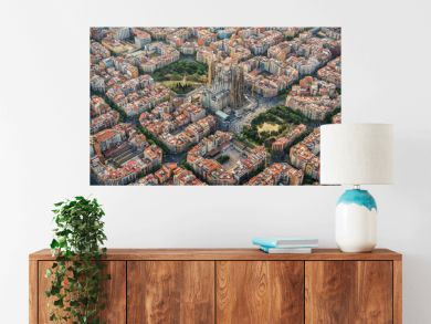 Barcelona aerial view, Eixample residencial district and Sagrada Familia Basilica, Spain