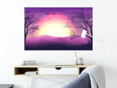 Safari cartoon background, desert savanna panorama and landscape with trees, hills, dunes and moon. Safary layered panoramic background, savannah dune landscape, African dune night time design in pink