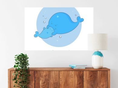 It's a boy announcement card with mother and newborn baby son whales. Cute cartoon style, blue coloured. Vector illustration isolated on white