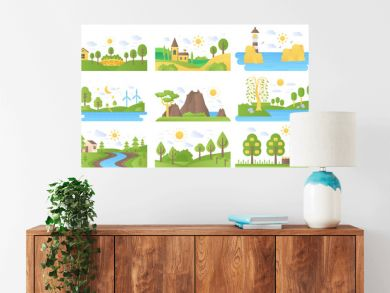 Vector mini landscapes icons set. Ecology nature and travel. Lake and river, sea and sun, mountain and lighthouse, summer forest park tree. Flat illustration collection for labels, logo or emblems.