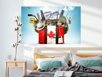 Canada, retro suitcase with hat and canadian attractions