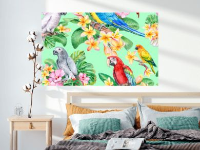 Set of parrots, macaw with tropical plants. Seamless patterns, wallpaper with exotic birds. Watercolor. Illustration. Template. Handmade. Close-up. Clip art.