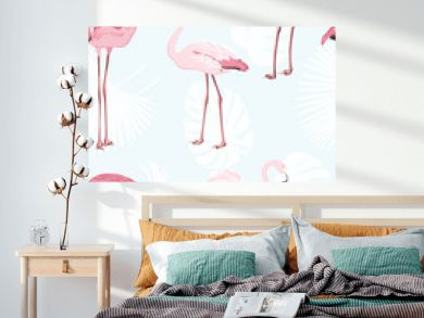 Pink flamingo beautiful exotic birds. Jungle palm tree monstera leaves. Tropical seamless vector pattern. Light blue background. White leaves outline. Trendy fashion illustration.