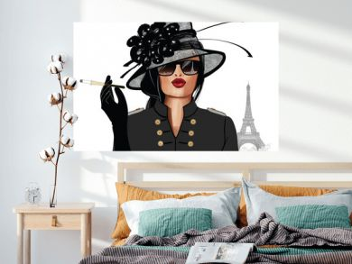 Woman with sunglasses and hat