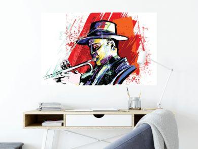Trumpet player over grunge background