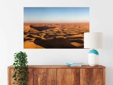 Aerial panorama in Sahara desert at sunrise