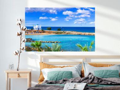 Cyprus island - best beaches. Scenic Louma beach with little church