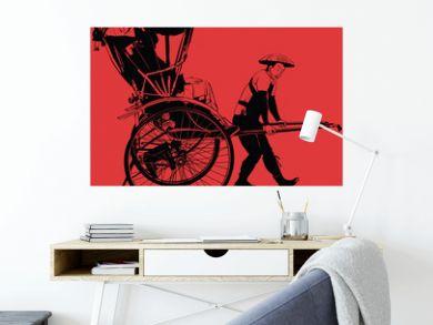 old traditional vintage japanese hand pulled rickshaw