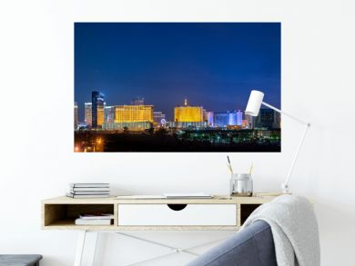 Panoramic Las Vegas Strip City Skyline of Hotels, Casinos, and Entertainment Centers