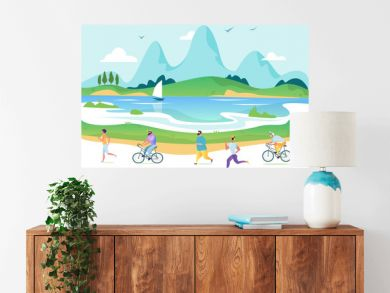 Vectorurban landscape in a minimalist style. Man and woman characters running, riding bicycle, skateboarding, roller skates, fitness. The city. Vector illustration
