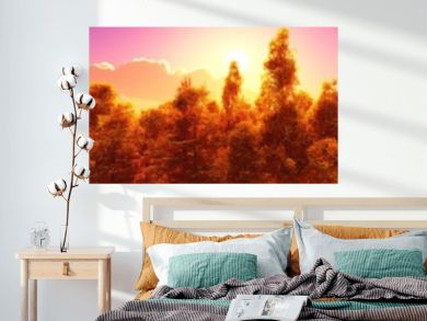 Panorama of the autumn landscape. Autumn park at sunset. Autumn trees under a blue sky with clouds. Banner.