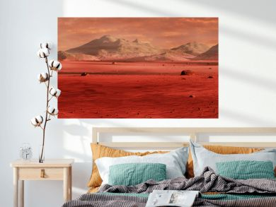 landscape on planet Mars, scenic desert surrounded by mountains, red planet surface