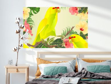 Seamless texture Bird Indian Ringneck Parrot in Yellow on branch with tropical flowers hibiscus, palm,philodendron watercolor  vintage vector illustration editable Hand draw