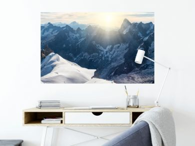 Panorama of Mont Blanc massif, mountain range in the Alps, France