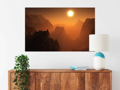 Canyon of Mars at sunset. Alien landscape. 3d rendering.