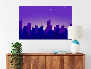 Seamless panorama of the night city landscape with a rising moon and stars. Vector endless horizontal illustration